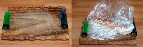 Na prkénku si vytvořte si distanční podložky ze zapalovačů nebo třeba pastelek