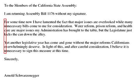Dopis kalifornského guvernéra Arnolda Schwarzeneggera.