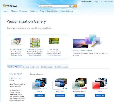 Stránky Microsoftu s tématy a doplňky pro Windows 7
