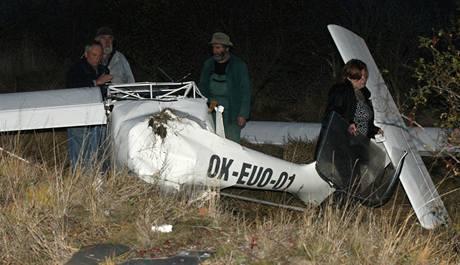 Havarované ultralehké letadlo
