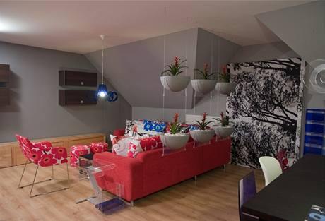 Obývací část je od jídelny a kuchyně oddělená stěnou ze závěsných květníků