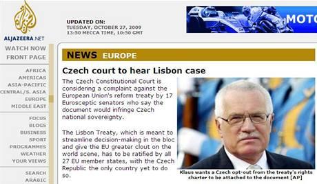 Jednání o Lisabonu ve zpravodajství katarské televize Al-Džazíra (27. října 2009)