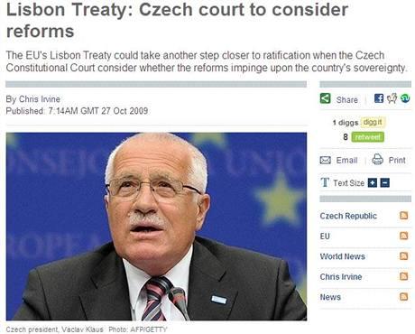 Jednání o Lisabonu ve zpravodajství britského deníku The Daily Telegraph (27. října 2009)