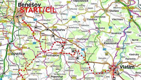 Trasa cyklovýletu Podblanickem