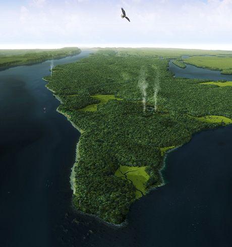 USA, New York. Počítačová vizualizace Manhattanu před 400 lety