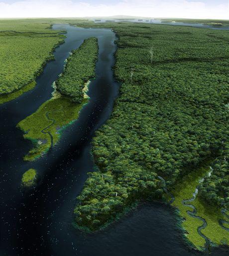 USA, New York. Počítačová vizualizace, jak vypadal Manhattanu před 400 lety - na snímku East River tekoucí směrem k Brooklynu, uprostřed Roosevelt Island