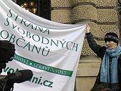 Protesty před jednáním Ústavního soudu o Lisabonské smlouvě (27. 10. 2009)