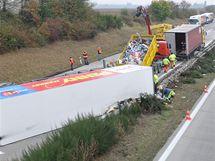 Havárie kamionu na 208,5 km dálnice D1