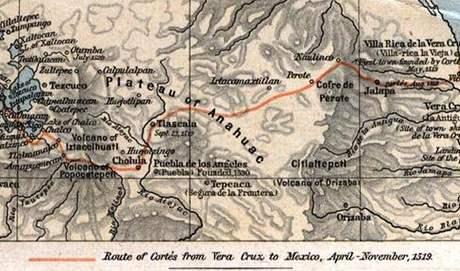 Mapa se zákresem Cortésovy výpravy