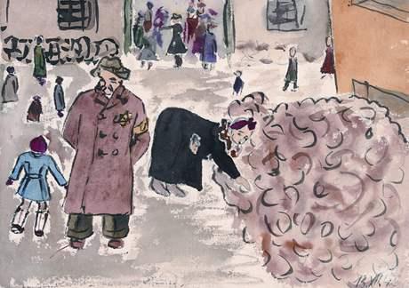Helga Hošková-Weissová: Vybírání odpadků, Terezín, 1942