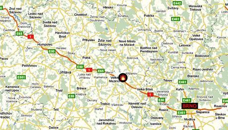Nehoda na D1 - mapa