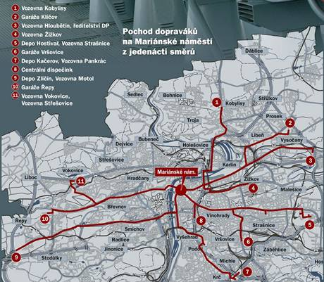 Trasa stávkujících v pražské dopravě