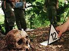 Nalezené masové hroby nedaleko Srebrenicy na archivním snímku z roku 1996
