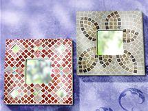 Mozaiku si nejprve vyzkoušejte na ploše, pak se případně pouštějte do olepování prostorových předmětů. Rámeček zrcadla je pro začátečníky ideální.