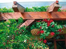 Trámy stříšky slouží i k zavěšení květníků