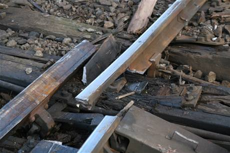 Výhybka,na které vykolejil ve Vršovicích rychlík Odra (12.11.2009)