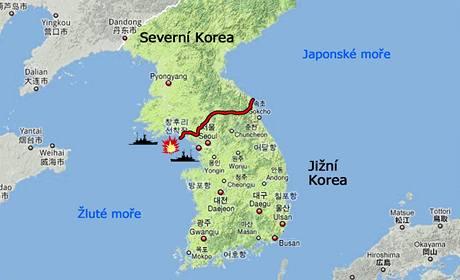 Mapa demilitarizované zóny mezi Severní a Jižní Koreou.
