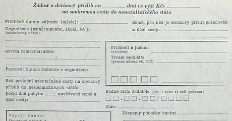 Devizový příslib od banky a výjezdní doložka - za totality jediná možnost, jak vycestovat na Západ. O devizový příslib a doložku bylo nutné žádat i k cestám do Jugoslávie.