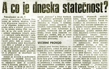 Článek ve vydání Mladé Fronty 18. listopadu 1989.