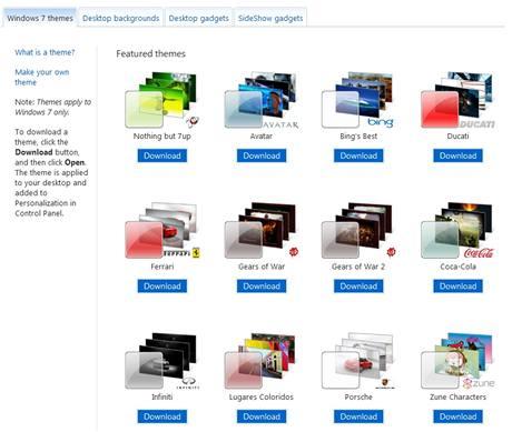 Galerie motivů pro Windows 7 - samé známé firmy