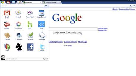 Google Chrome OS - desktop nového OS působí velmi jednoduše a přehledně, na první pohled se dá zcela zaměnit s prohlížečem Google Chrome. Přibyla nabídka aplikací (ikonka vlevo nahoře)