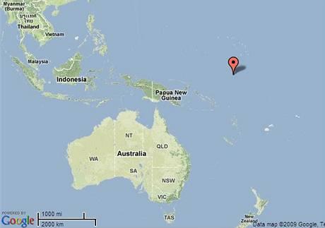Mapa ostrova Nauru v Tichém oceánu