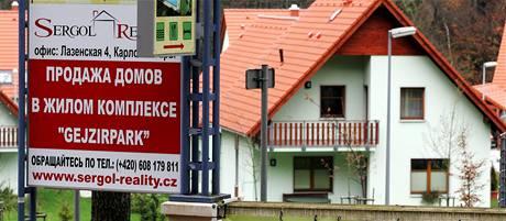 Lokalita se sedmatřiceti obytnými domy u karlovarského Gejzírparku