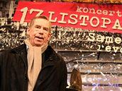 Václav Havel na brněnském náměstí Svobody při výročí Sametové revoluce