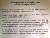Prohlášení stávkového výboru odborových organizací pražského Dopravního podniku z 11. listopadu