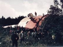 Buková hora - odstřel druhého vysílače 9. září 1966 v 10 hodin
