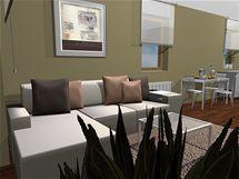 Obývací pokoj s kuchyňským koutem pro singl mladou ženu
