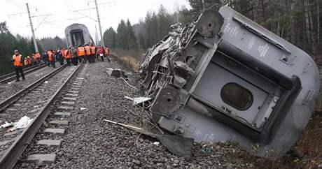 Něvský expres, který vykolejil asi 350 kilometrů od Moskvy. Úřady spekulují o teroristickém útoku. (28.11.2009)