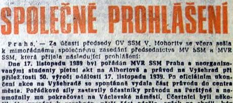 Společné prohlášení, Mladá fronta 20. listopadu 1989