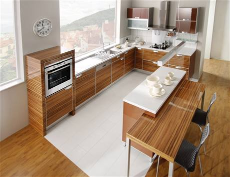 Kitchen-with-made-from-wood-kitchen-cupboards-build-in-oven-wall-clock-and-modish-kitchen-furniture
