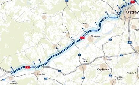 Úsek dálnice D47 mezi Lipníkem nad Bečvou a Ostravou.