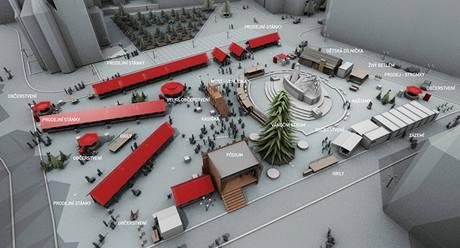 Plán vánočních trhů na Staroměstském náměstí v Praze.