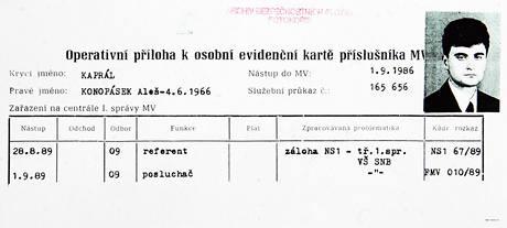 Evidenční karta StB nynějšího kancléře ústecké hejtmanky Aleše Konopáska