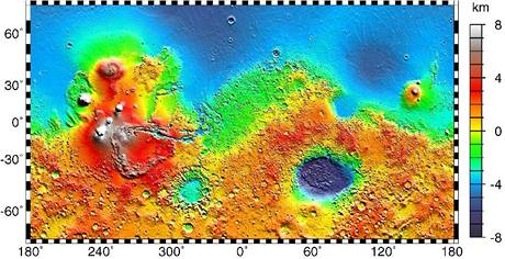 Topografická mapa Marsu