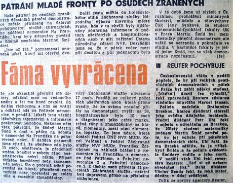 Fáma vyvrácena, Mladá fronta 20. listopadu 1989