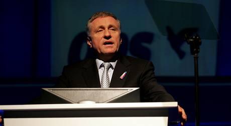 Mirek Topolánek na kongresu ODS. (21. listopadu 2009)