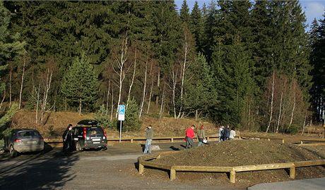 Šumava, nově upravené parkoviště na Velkém Boru
