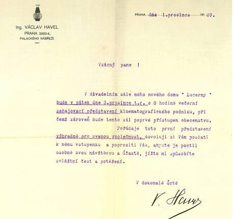 Pozvánka na 1. promítání Kina Lucerna v roce 1909