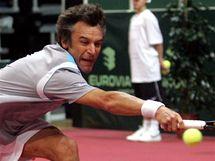 Mats Wilander při tenisové exhibici v Praze