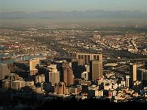 Jihoafrická republika, centrum Kapského Města  v zapadajícím slunci