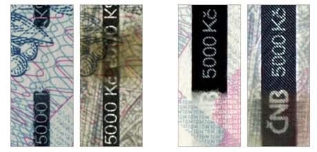 Bankovka 5 000 korun - ochranný proužek, vzor 2009
