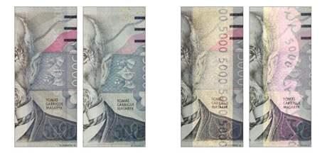Bankovka 5 000 korun - iridiscentní proužek, vzor 2009