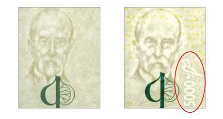 Bankovka 5 000 korun - vodoznak, vzor 2009