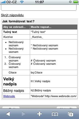 Jak form�tovat text v mobilu