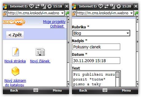 Webnode v mobilním IE