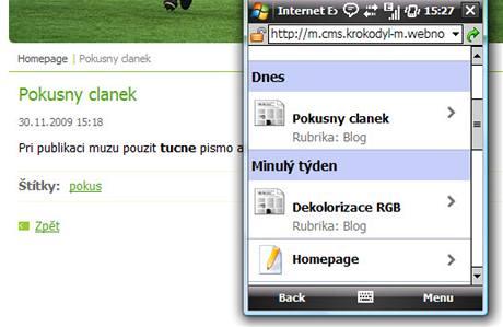 Syst�m Webnode umo��uje �pravu internetov�ch str�nek skrze mobiln� telefon